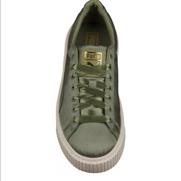 big sale e2545 2b631 Women's PUMA Basket Platform Satin Sneakers Olive NWT
